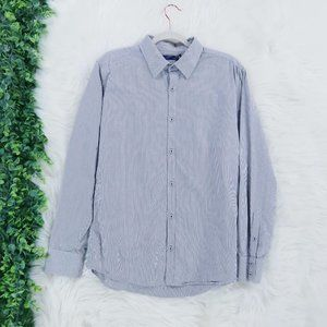 Modern Amusement Striped Button Front Shirt L